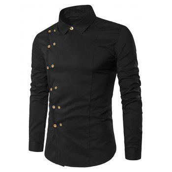 dresslily Double-breasted Button Embellished Shirt