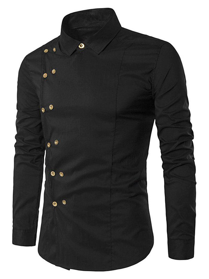 Double-breasted Button Embellished Shirt - BLACK M