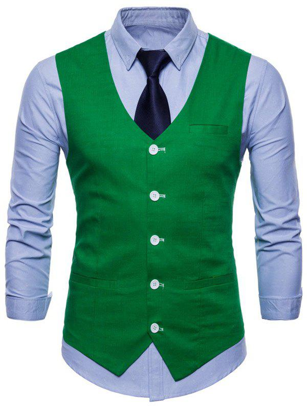 V Neck Single Breasted Casual Waistcoat - CLOVER GREEN M