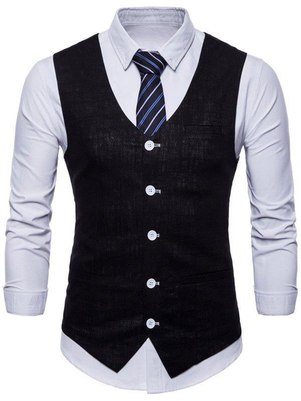 V Neck Single Breasted Casual Waistcoat - BLACK L