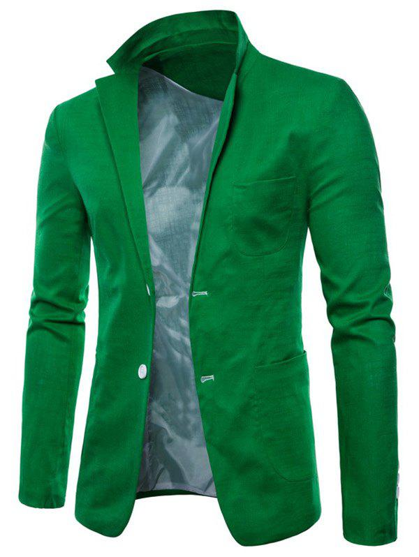 Lapel One Button Solid Color Blazer - GREEN APPLE XS