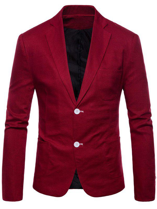 Lapel Single Breasted Solid Color Blazer - RED WINE S