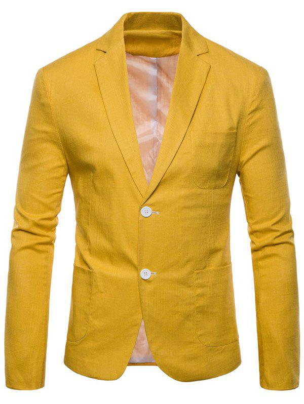 Lapel One Button Solid Color Blazer - YELLOW S