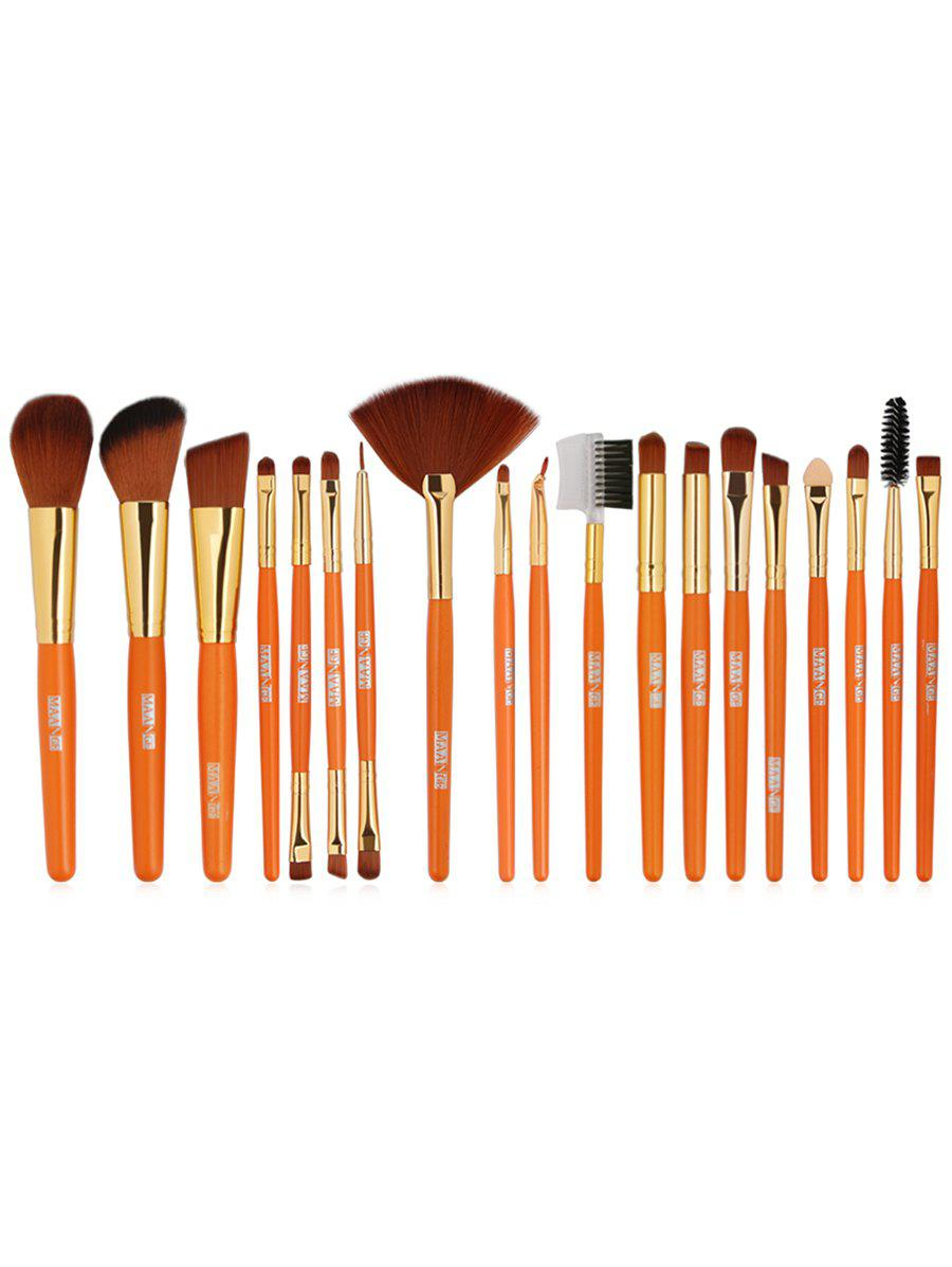 Set of 19Pcs Synthetic Fiber Hair Ultra Soft Foundation Fan Eyeshadow Lip Brush Set - ORANGE