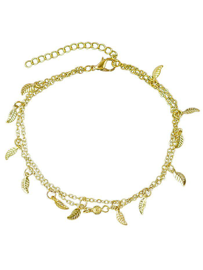 Leaves Decoration Layered Chain Anklet - GOLD