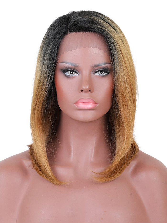Medium Inclined Bang Straight Colormix Lace Front Synthetic Wig - multicolor