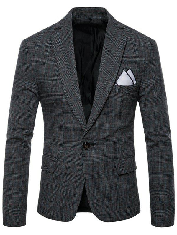 Check Lapel Edging Blazer - DARK GRAY L