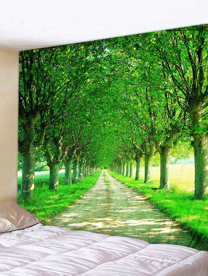 Avenue Trees Print Tapestry Wall Art - FOREST GREEN W91 INCH * L71 INCH