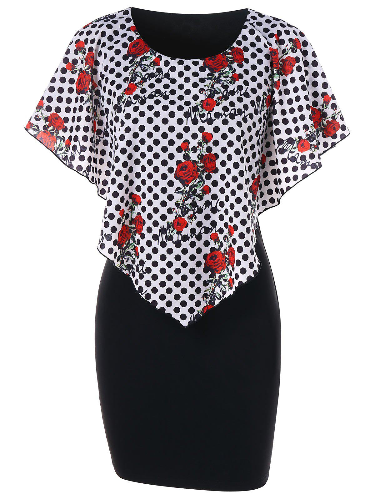 Polka Dot Capelet Dress - BLACK XL