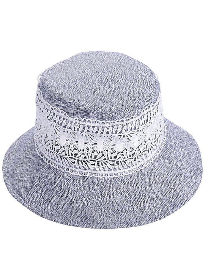 UV Protection Wide Brim Lace Bucket Hat - BLUE GRAY