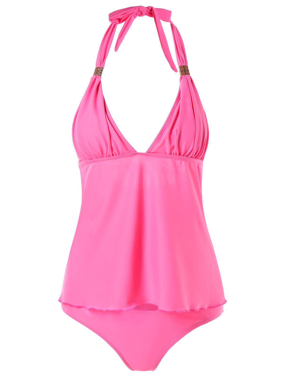Halter Open Back Tankini Set - HOT PINK L