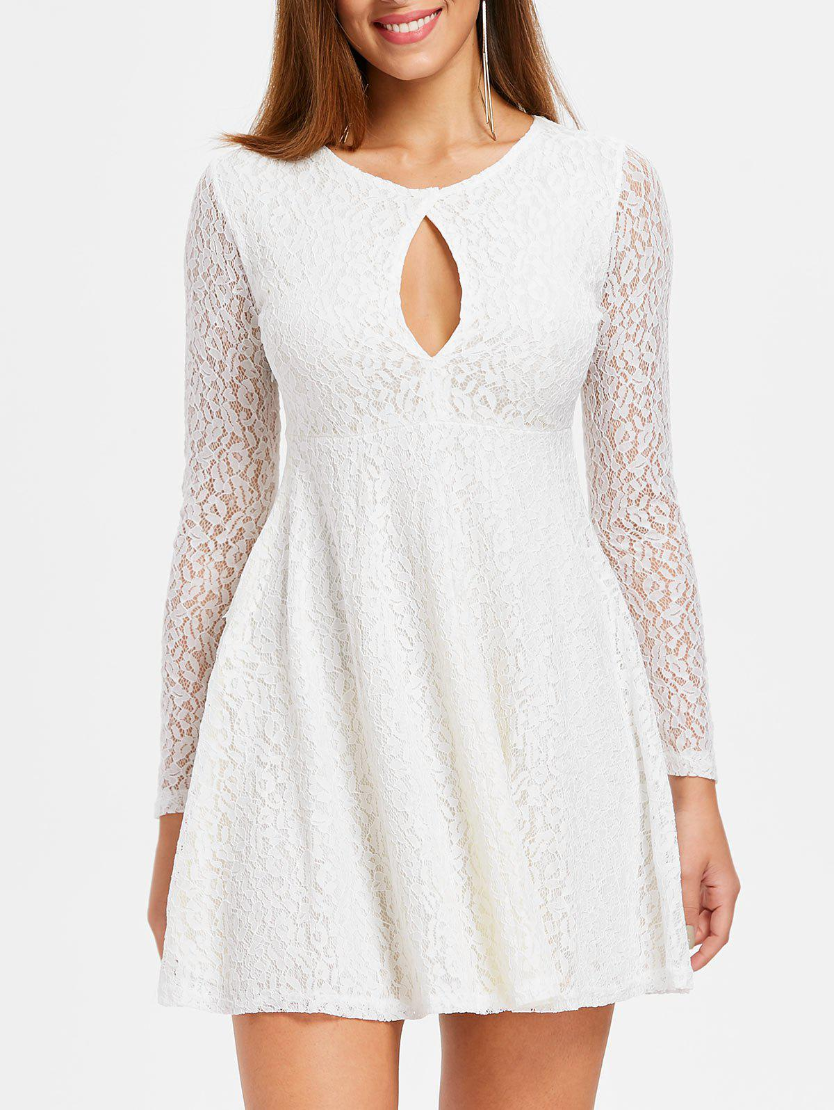 Cut Out A Line Lace Dress - WHITE XL