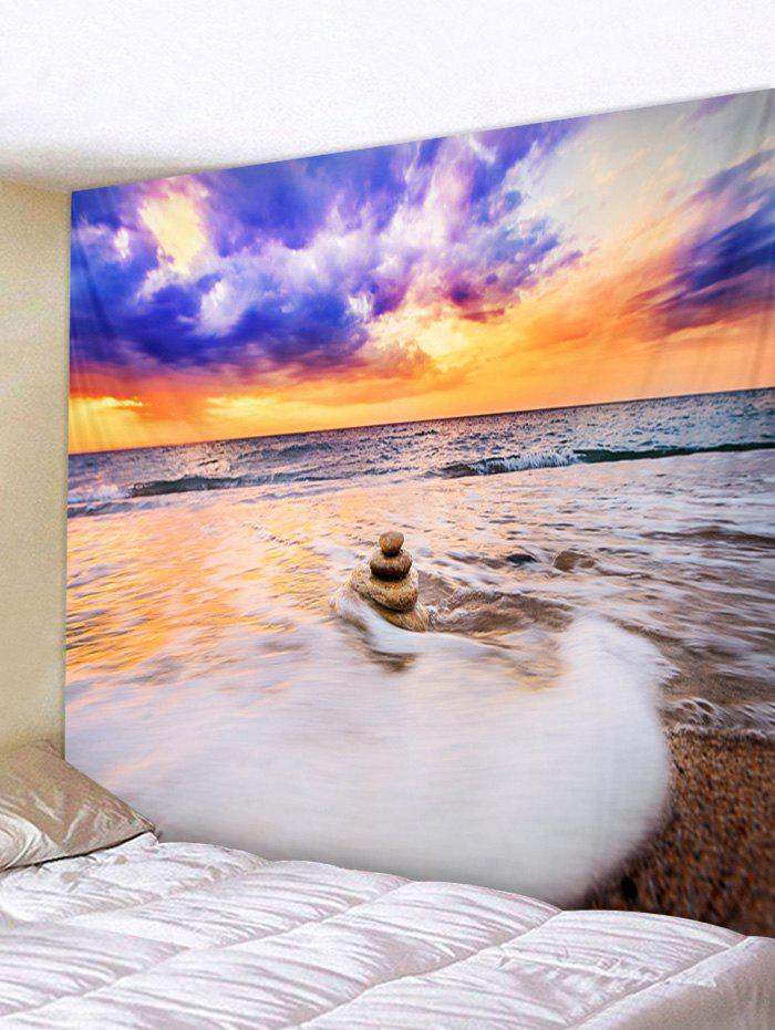 Sea Beach Pattern Wall Tapestry Hanging Decor - multicolor W91 INCH * L71 INCH