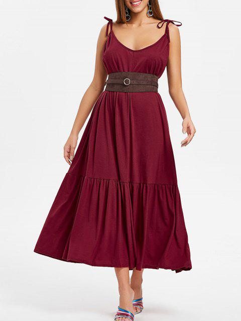 Tie Straps Drop Waist Maxi Dress - RED WINE L