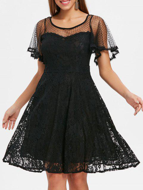 Polka Dot Lace A Line Midi Dress - BLACK M