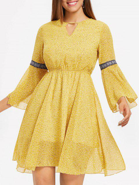 Long Sleeve Chiffon Backless Dress - YELLOW S