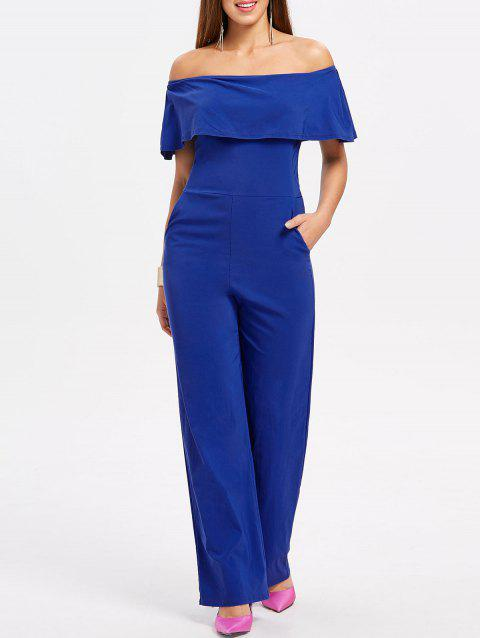Off The Shoulder Jumpsuit - BLUE L
