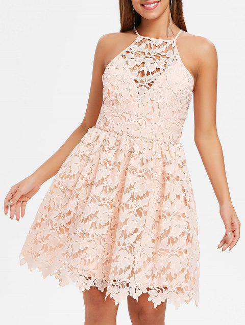 Floral Lace Skater Dress - PINK BUBBLEGUM 2XL