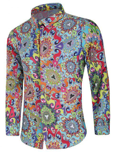 Colorful Filigree Paint Casual Shirt - multicolor 2XL
