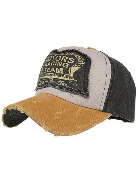 Motors Racing Team Pattern Snapback Hat - YELLOW