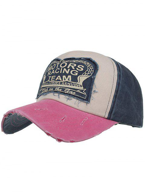 Motors Racing Team Pattern Snapback Hat - PINK