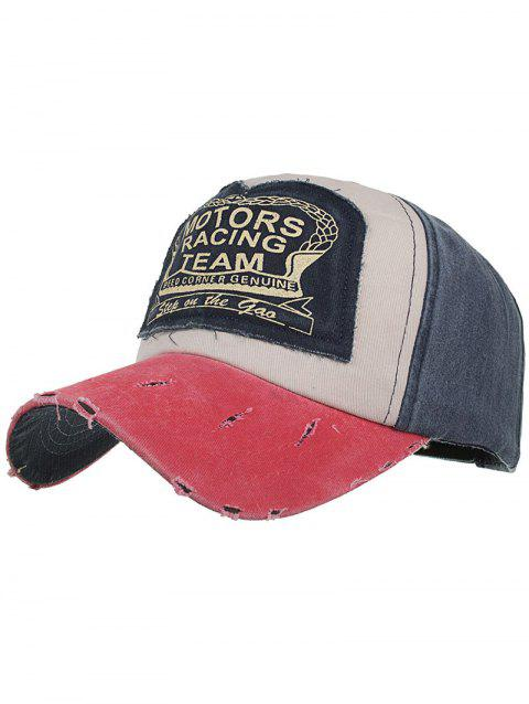 Motors Racing Team Pattern Snapback Hat - MIST BLUE