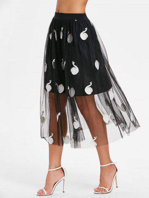 Midi Mesh Swan Embroidered Skirt - BLACK S