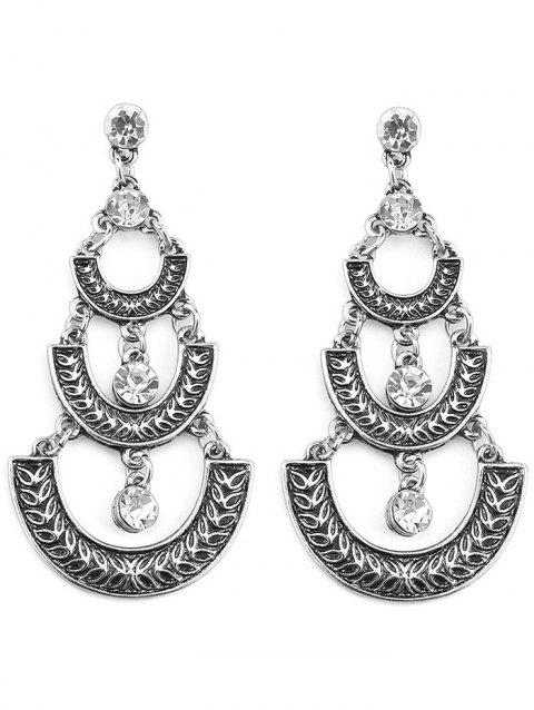 Shiny Rhinestone Ethnic Dangle Drop Earrings - SILVER
