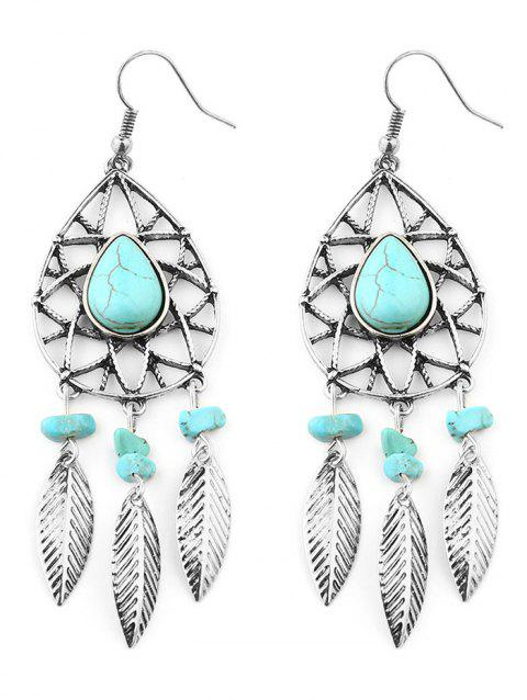Bohemian Faux Turquoise Fringed Hook Earrings - SILVER