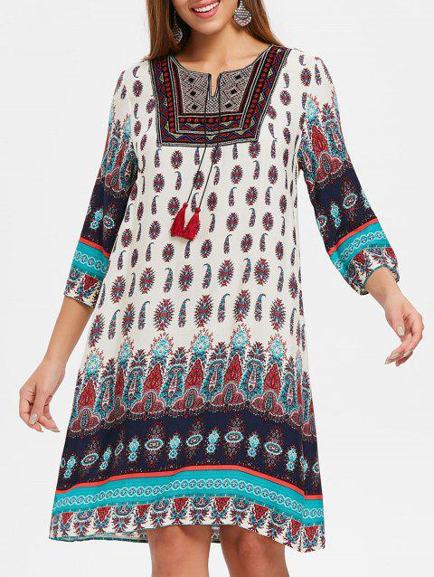 Ethnic Printed Straight Dress - WHITE M