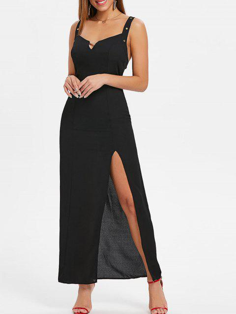 Backless Maxi Thigh slit Dress - BLACK S