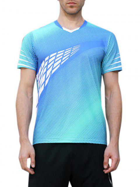 Short Sleeve Geometrical Print Quick Dry Activewear Top - GLACIAL BLUE ICE M