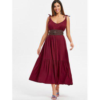 Tie Straps Drop Waist Maxi Dress - RED WINE S