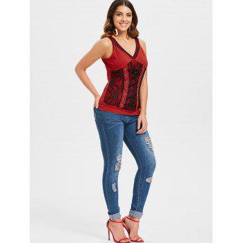 Lace Panel Lace Up Tank Top - RED 2XL