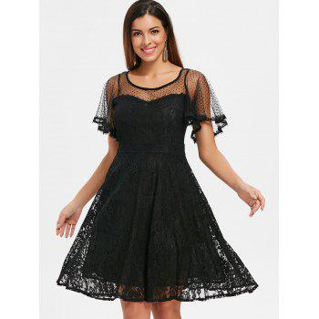 Polka Dot Lace A Line Midi Dress - BLACK L