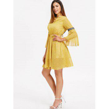 Long Sleeve Chiffon Backless Dress - YELLOW XL