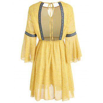 Long Sleeve Chiffon Backless Dress - YELLOW M
