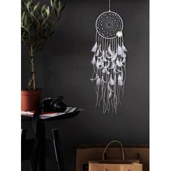 Flower Feather Fringed Dream Catcher Wall Hanging - WHITE 90*20CM