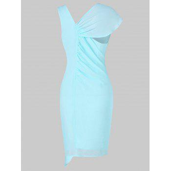 Ruffled Trim Chiffon Pencil Dress - LIGHT BLUE XL