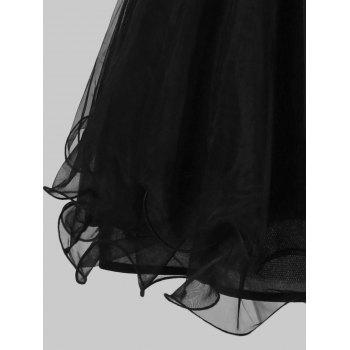 Hollow Out Sequined Mini Ball Gown Dress - BLACK M