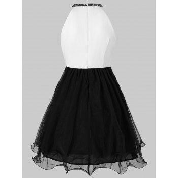 Hollow Out Sequined Mini Ball Gown Dress - BLACK XL