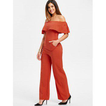 Off The Shoulder Jumpsuit - ORANGE M