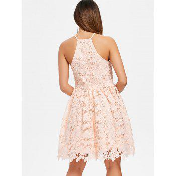 Floral Lace Skater Dress - PINK BUBBLEGUM L