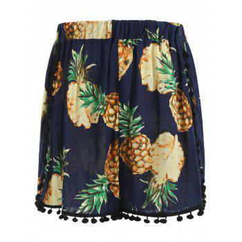 Elastic Waist Pineapple Print Shorts - CADETBLUE S
