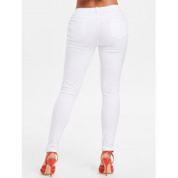 High Rise Ripped Pants - MILK WHITE M