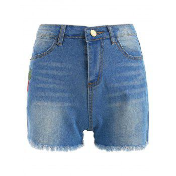 Floral Embroidery High Waist Denim Shorts - DENIM BLUE 2XL