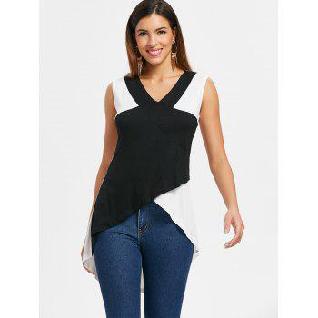 Two Tone Flare Tank Top - WHITE S
