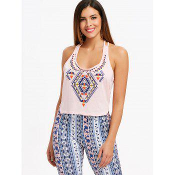 Geommetric Print High Low Tank Top - PINK BUBBLEGUM 2XL