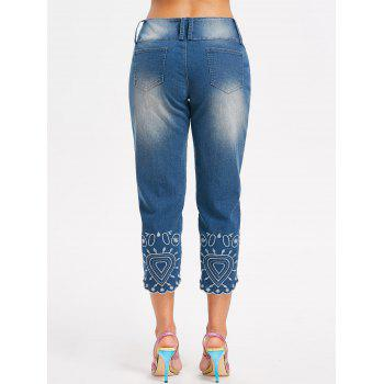 Cutout Embroidery Tapered Jeans - DENIM BLUE M