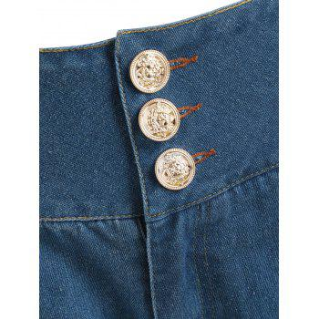 Cutout Embroidery Tapered Jeans - DENIM BLUE L